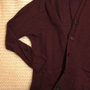 AmericanEagle Maroon Button-up Cardigan
